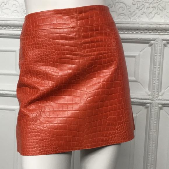 SON-YA Dresses & Skirts - Son-Ya Red Orange Leather Croc Textured Mini Skirt